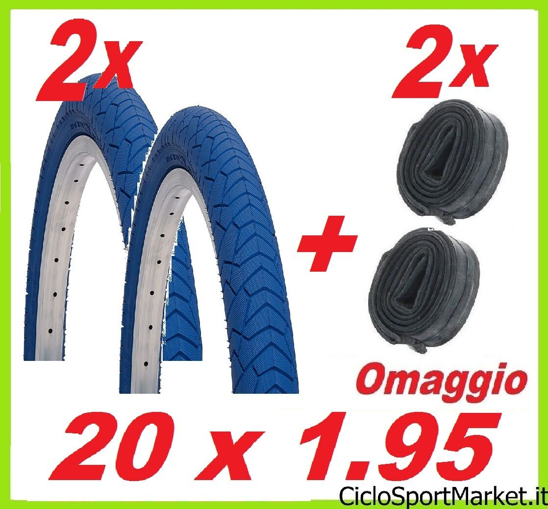 2 Tyres + 2 Inner tubes bicycle BMX Size 20 x 1.95   blueE COLOR