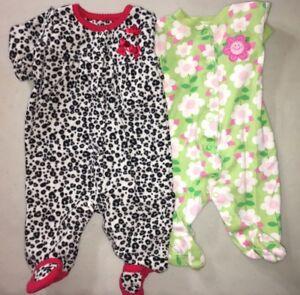 2e475152a Carters Lot of 2 Girls Sleepers Size 3 Months Leopard Print Fleece ...
