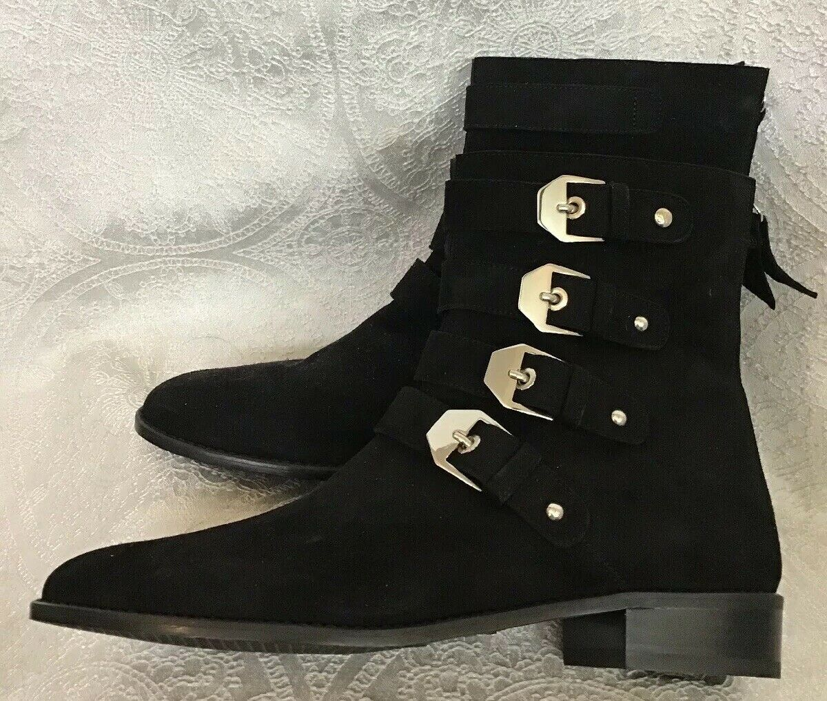 Stuart Weitzman jitterbug Black suede Ankle boot 4 buckles zip back size 7 New