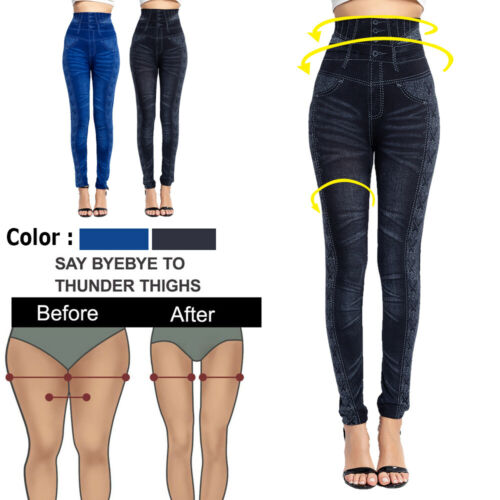Damen Hose Demin Look Leggings Leggin Fitness Slim Fit Freizeithose Blau Grau
