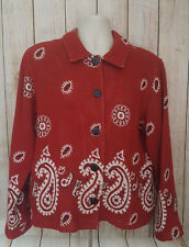 Rough Rider Women's Sweater Size XL Red Paisley Print Western Cowgirl Style