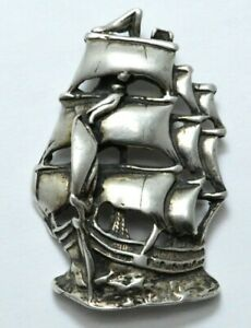 Vintage Boat Charm Vintage Sterling Silver Ship Charm for Charm Bracelets Sterling Ship Charm or Pendant 800 Silver Nautical Charm