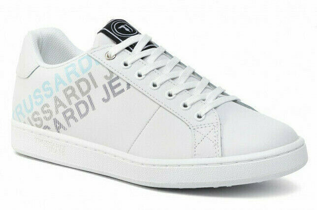 Trussardi Jeans 77A00209 W001 Turnschuhe Leather Leder Logo Degrade Herren Weiß