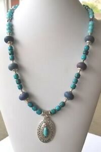 HORIZONS-Southwest-Lampwork-Turquoise-color-Gemstones-Crystal-Necklace