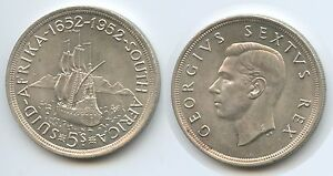 G0705-South-Africa-5-Shillings-1952-KM-41-Silver-Ship-Founding-of-Capetown