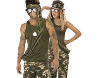 ARMY MILITARY ACCESSORY KIT GLASSES BANDANA DOG TAG BULLET BELT LONG FANCY DRESS