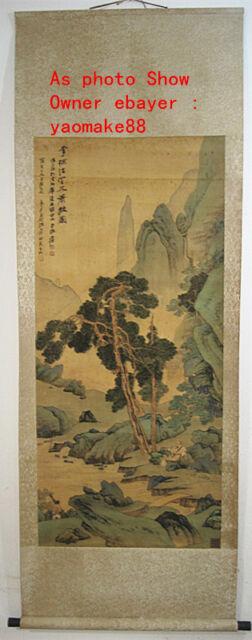 62Inch High Chinese Scroll Painting Landscape By Zhang Daqian xishanfengyu