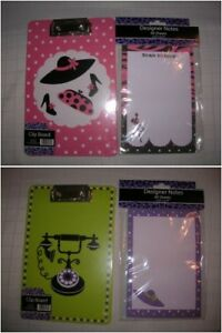 NEW-clipboard-note-pad-5-x-7-stationery-PINK-DOTS-HATS-GREEN-TELEPHONE