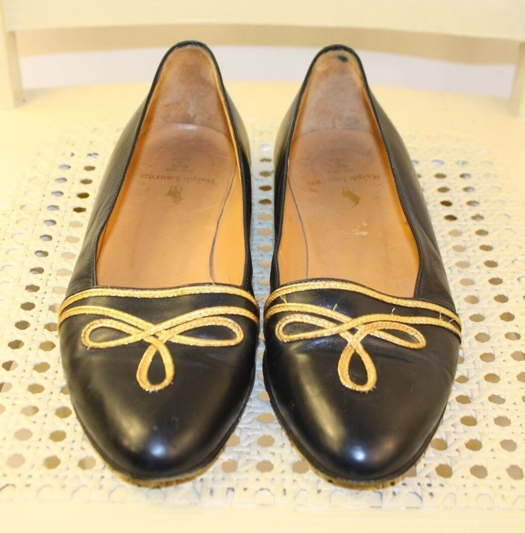 RALPH LAUREN 80's Navy Blue Leather Military Nautical Flats Loafers 5.5B ITALY!
