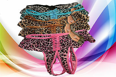 Lot of 6 Women Crotchless Thong Animal Print Crotchless G-String Mixed Color 378