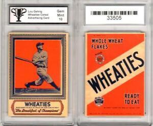 LOU-GEHRIG-New-York-Yankees-WHEATIES-Type-1-Ad-Promo-Card-GRADED-10-GEM-MINT