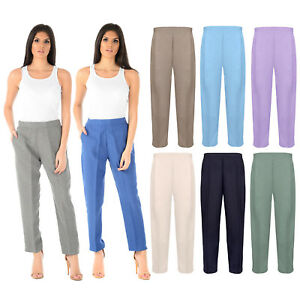 BRAND-NEW-LADIES-WOMENS-HALF-ELASTICATED-WAIST-TROUSERS-WITH-POCKETS-PLUS-SIZES