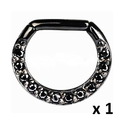 Black Gem Jewelled Clicker Septum Ring Rook Hoop 16g (1.2mm) 17mm x 13mm Steel