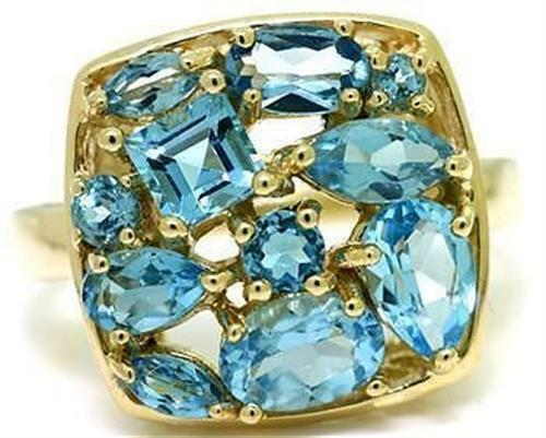 Natural bluee Topaz 9ct 9K 375 Solid gold Multi-Cut Stone Ring - Bravo Jewellery