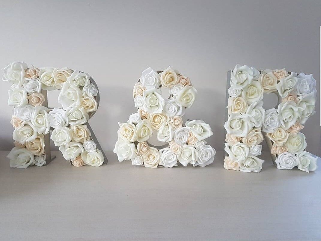 PersonalisedHandmade Flower Initials Letters freestanding couples marquee lights