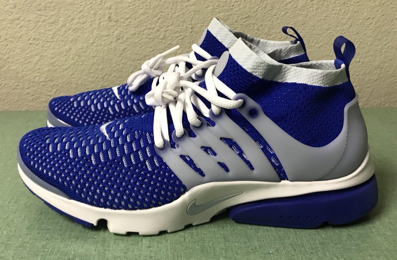 Nike Air Presto Ultra Flyknit Racer bluee Grey White Mens Sz 9.5 Running shoes