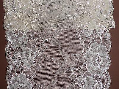 "Pretty Pale Beige Delicate Wide Stretch Lace Trim 9""/22cm - The Place For Lace -"