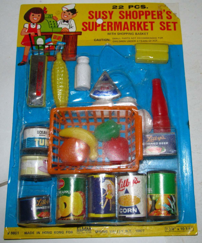 Elmar Susy Shopper's 22 piezas súpermercado conjunto menta en tarjeta, Juguete alimentos y contenedores  8801