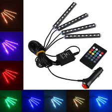 Wireless RGB 9 LED Remote/Music/Voice Control Car Neon Interior Light Lamp Strip