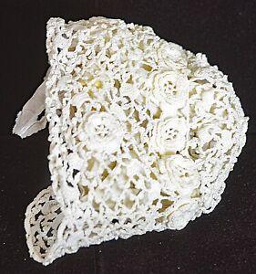 Vintage Antik Handgefertigt Irisch Häkel Baby Bonnet Uu392 Weich Und Rutschhemmend Hüte, Kinder