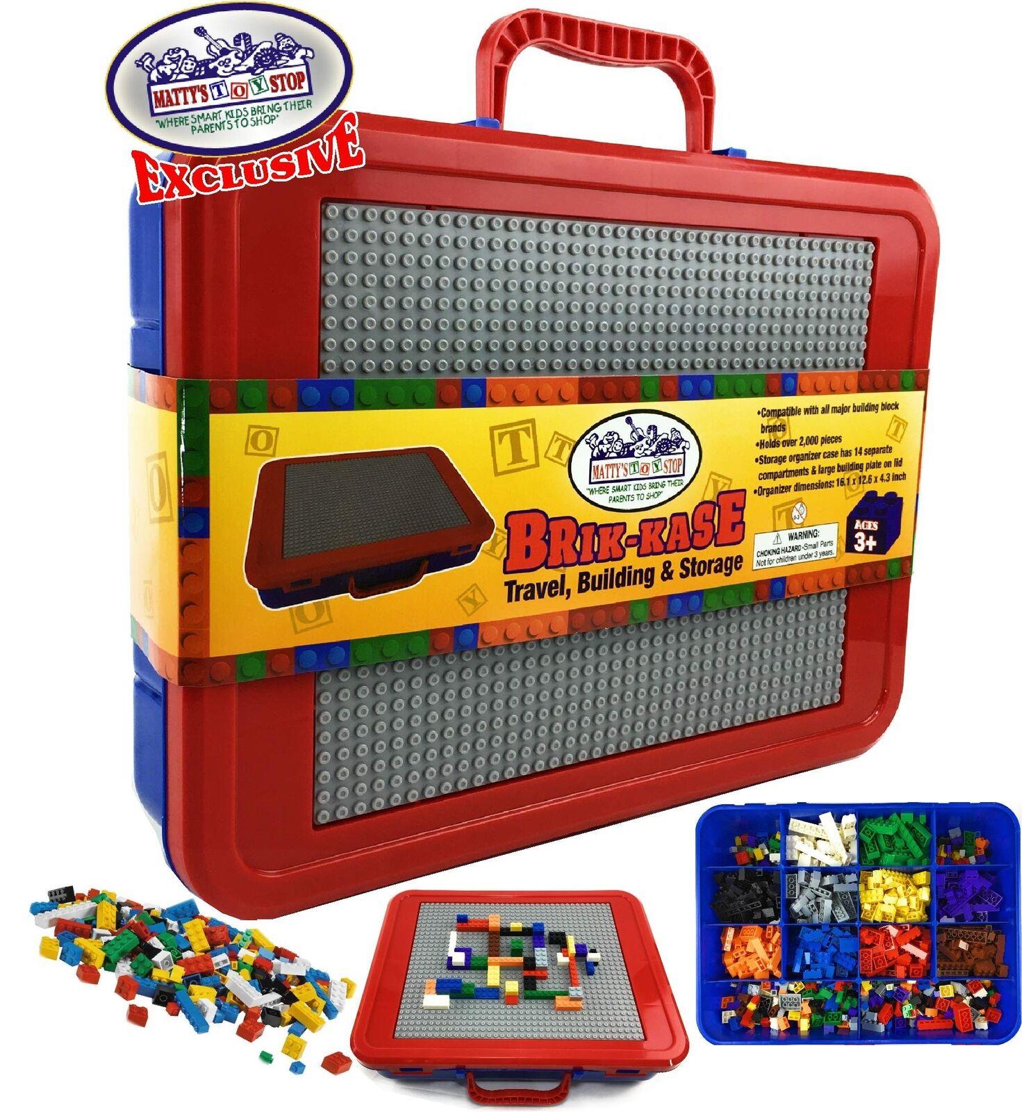 Brik-Kase Brik-Kase Brik-Kase Lego Travel, Storage & Organizer  Case w Building Plate Lid - bluee,... d52401