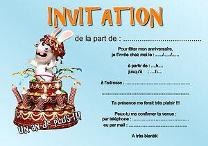 Détails Sur 5 Ou 12 Cartes Invitation Anniversaire Lapin Réf 424