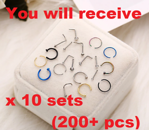 200-pcs-Nose-Rings-Hoop-Stainless-Steel-Bone-L-Shaped-Screw-Nose-Studs