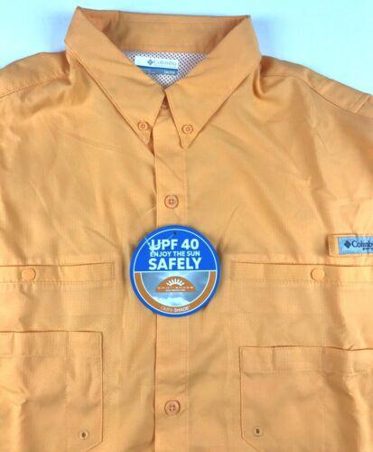 Columbia PFG Mens 1X Tamiami Orange Roll Up Vented L//S Button Shirt Fishing NWT
