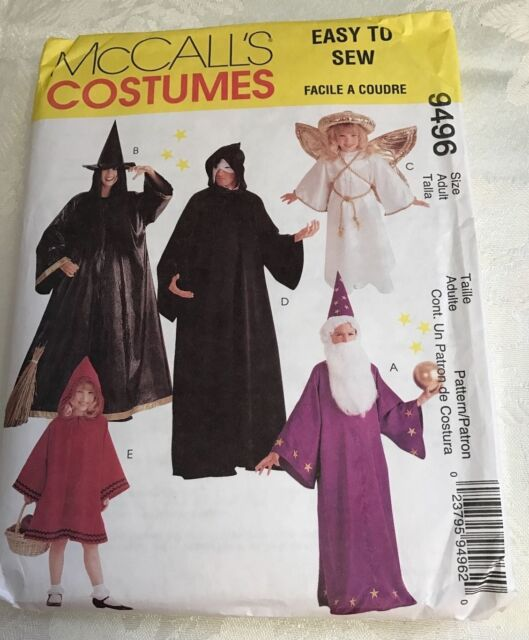 McCalls Sewing Pattern 9496 Costume Angel Witch Wizard Phantom Red ...