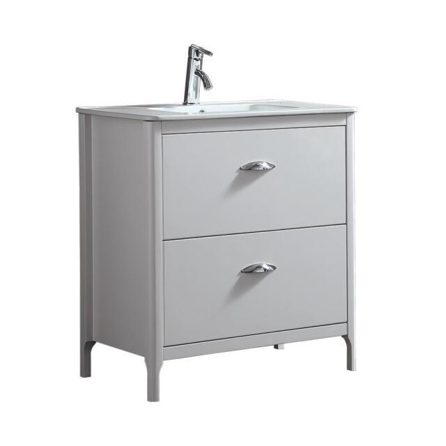Ove Decors White Scarlett 32 Inch Single Sink Bathroom Vanity With Ceramic Top