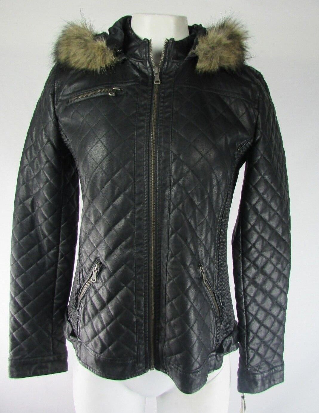 Bar III Women's Black Faux-Fur-Trimmed Quilted Faux-Leather Hood Jacket Size M