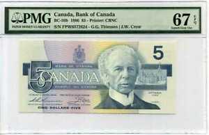 CANADA-5-DOLLARS-ND-1986-P-95-SUPERB-GEM-UNC-PMG-67-EPQ-HIGHEST