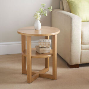 Contemporary Round Oval Shaped Oak Finish Coffee Side Table Home ...