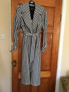 River-Island-Black-White-Gingham-Trench-Coat-Size-8-BNWT-RRP-75