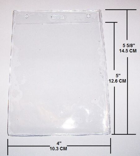 """CLEAR VINYL CREDENTIAL BADGE ID HOLDER VERTICAL OVERSIZE 5 5//8/"""" x 4/"""""""