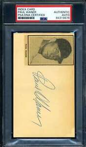 Paul Waner PSA DNA Coa Autograph Hand Signed 3x5 Index Card