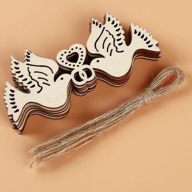 DIY Handicraft Bird Dove Shaped Scrapbook Wooden Craft Wedding Party Decor SG