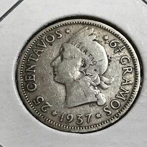 1937-DOMINICAN-REPUBLIC-SILVER-25-CENTAVOS-BETTER-COIN
