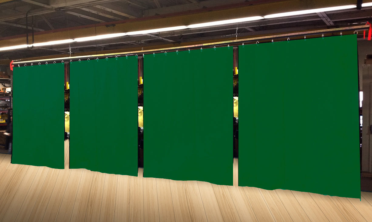 Lot of (4) Economy Hunter Green Curtain Panel Partition 10 H x 4½ W, Non-FR