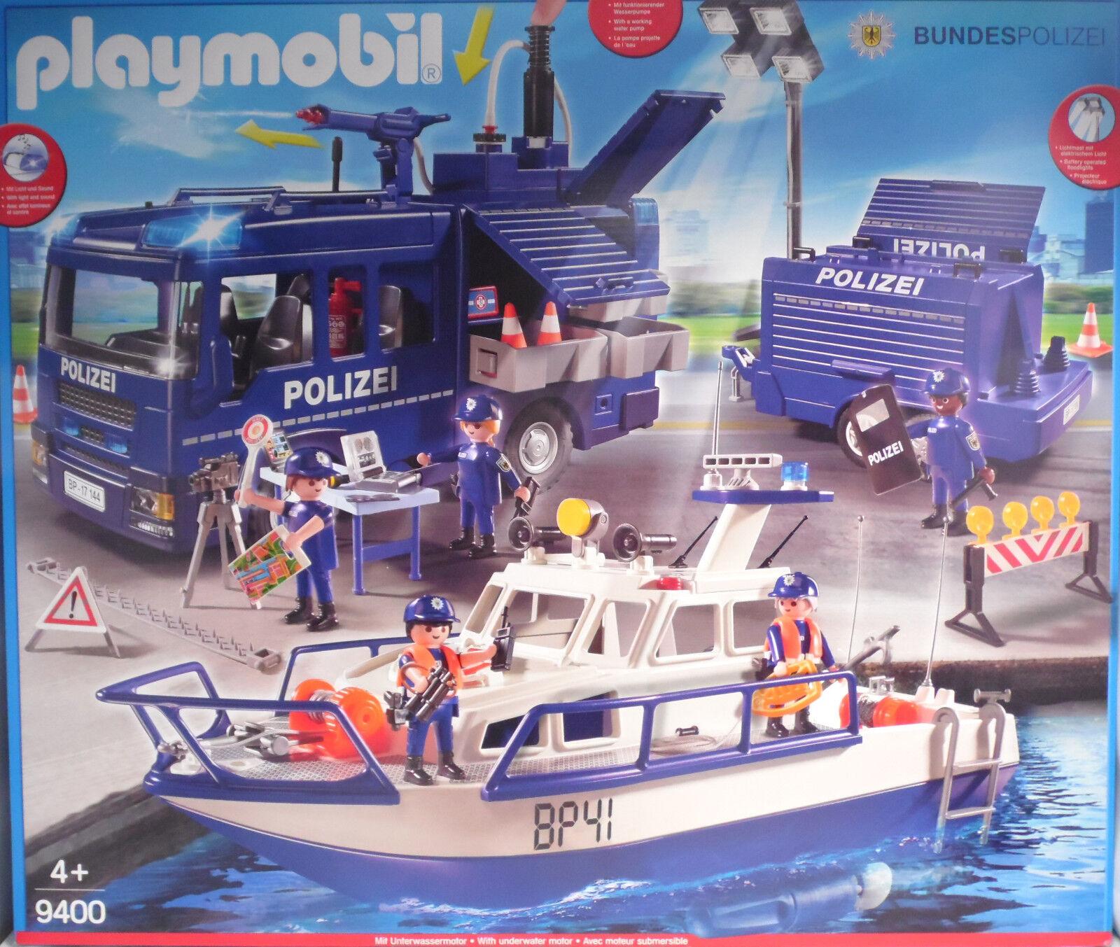 Playmobil 9400 Bundes-Polizei LKW mit Blaulicht Stiefel Lichtanhänger Pumpe NEU