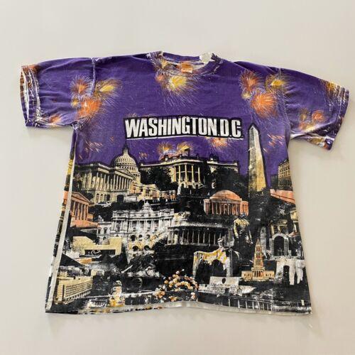Vintage Washington Dc All Over Print T-Shirt Size