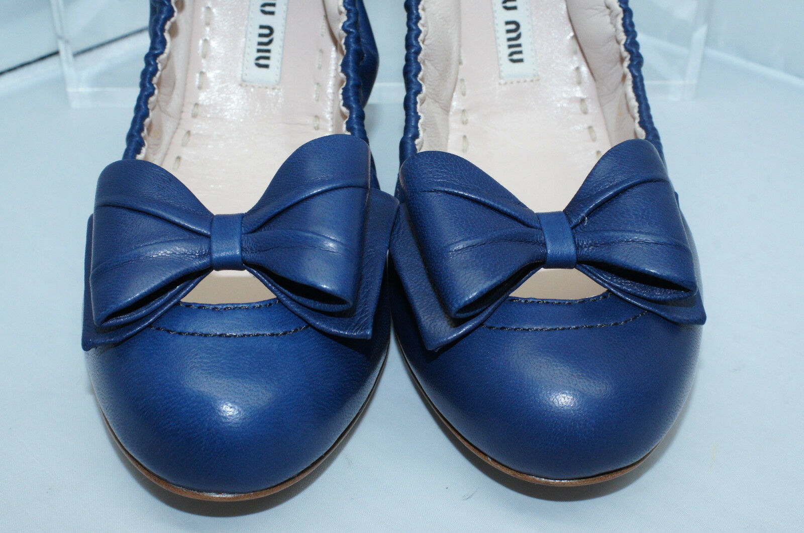 f93020a68e4 New Miu Miu Ballet Flats Shoes Size 39.5 39.5 39.5 Blue Calzature Donna  Leather d088e1