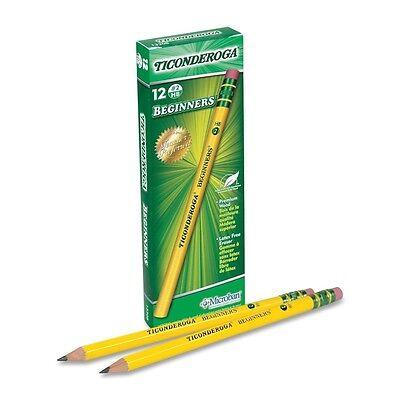 12 DIXON TICONDEROGA Beginner's PENCILS w/ ERASER Wood Pencil-13308 Yellow # 2