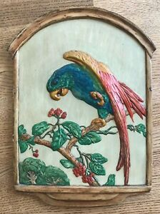 Vintage-Chalkware-PARROT-Wall-Plaque-Decor-Art-18-3-4-034-by-14-034-Bird-on-Branch