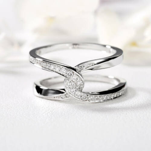 New Fashion 925 Silver Jewelry Round Cut blanc saphir bague de mariage Taille 6-10