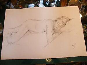 Fusain-Nu-de-Femme-par-Andre-Simon-1926-2014-2004-Artiste-Lorrain