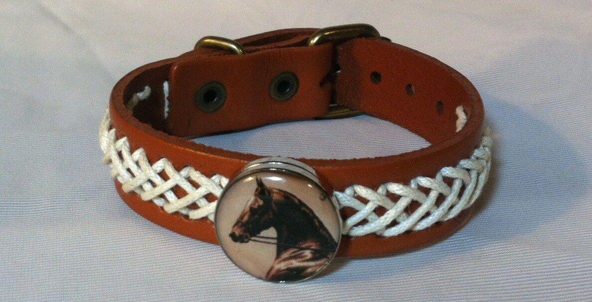HORSE SNAP & LEATHER twine stch BRACELET 18-20MM ELEGANT HORSE HEAD   BUBBLES