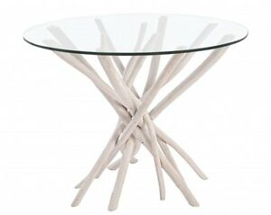 Tavolo In Rami Di Teak E Vetro Tavoli Da Pranzo Tavoli Legno Etnico Coloniale Ebay
