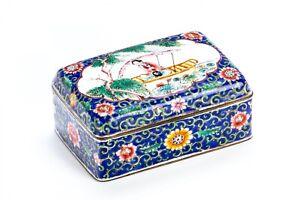 Antique-Chinese-Enamel-Cloisonne-Hinged-Dresser-Box
