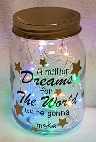 The Greatest Showman Quote A Million Dreams For The World LED Light Up Jar